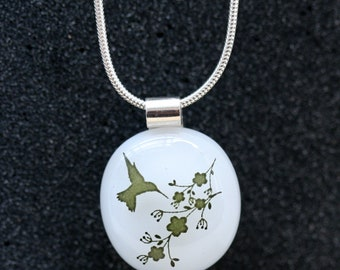 Sterling Silver and Fused Glass Pendant_ Hummingbird