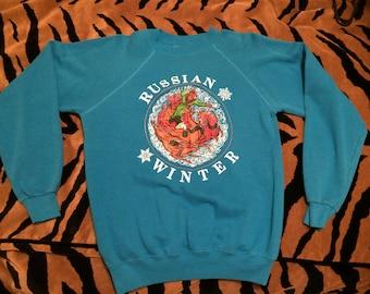 Vintage 1980s Russian Winter Tourist Russia Hanes Sz Medium 38-40 Tourqoise Blue Sweatshirt