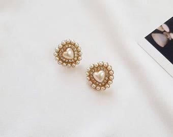 Pearl Heart Cubic Zirconia Stud Earrings Valentine Gift