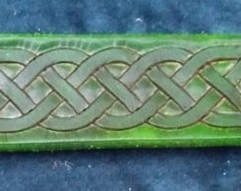 Celtic Leather Bracelet, Medium, Green, Another SImple Two-line Knot Weave
