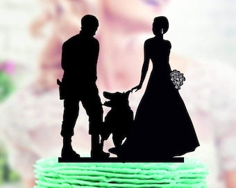 Family and dog Cake Topper , pet topper , Silhouette with dog , Wedding Cake Topper , cake topper with dog, Silhouette Wedding Cake Topper