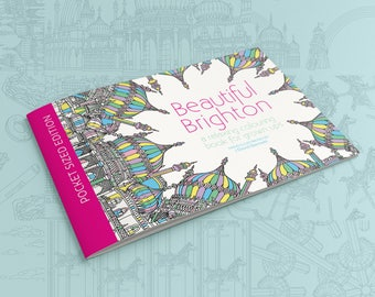 Brighton Colouring Book POCKET EDITION!- Relaxing Colouring Book, Mindful Mandalas, Stocking filler, Brighton Gift, Brighton Pavilion, i360