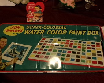 Vintage 50's England Jon Gnagy's Super Colossal Water Color Paint Box and Paints, toy collection gift for him