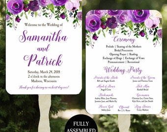 Wedding Program Fans Printable or Printed/Assembled with FREE Shipping - Purple Bouquet Collection