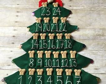 Pet Treat Advent Calendar, Felt Christmas Tree, Magnet, 25 Days of Christmas, Pet Love Gift, Dog Christmas Gift, Countdown to Christmas