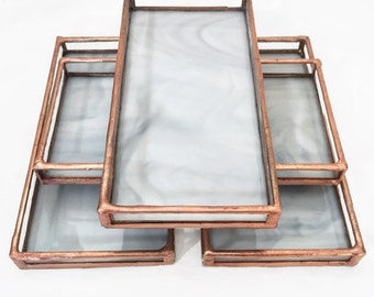 Tray Carrara White Stained Glass - Small
