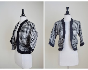 60s Black & White Cropped Cardigan - 1960s Wool Jumper