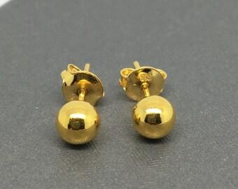 24K Gold Plain Ball Stud Earrings ~6MM