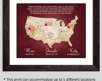 Long Distance Mom Gift - Mothers Day Gift - Long Distance Mother Daughter Moving Away - Mom Map Personalized Mother Gift