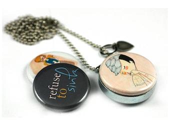 Teen Girl Locket Necklace | Mermaid Locket | Tattoo Art Jewelry | Refuse to Sink | Inspiration Locket | Nan Lawson Artwork | Polarity