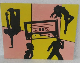 Acrylic painting, 90's art, cassette tape painting, retro art, retro painting, hip hop painting, musical painting, dancer painting