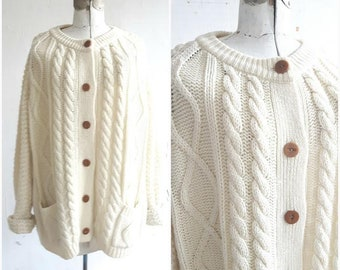 Vintage Hudson Bay Sweater,Fishermans Sweater, Cable Knit sweater, Chunky knit Cardigan