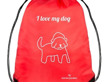 Red Labrador Dog Drawstring Bag
