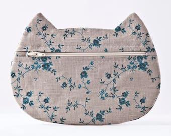 Boho Cosmetic Bag, School Supplies, Gray Makeup Bag, Floral Pencil Case, Cat Lover Gift, Zipper Bag, Toiletries Bag, Gray Bag