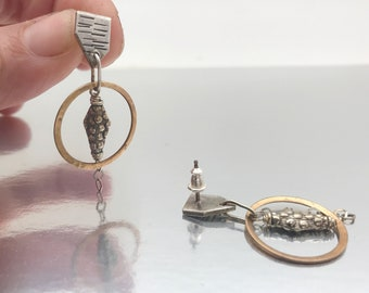 Sterling and brass post and dangle earrings