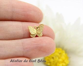 Butterfly Charm, Tiny Butterfly Charm, Tiny Matt Gold Butterfly Charm, Tiny Matt Gold Butterfly Pendant, Butterfly Jewelry