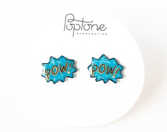 POW comic bubble earrings, geek chic studs, anime jewelry, geekery