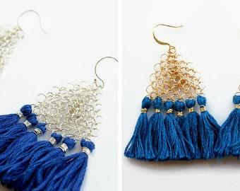 Blue Tassel Triangle Earrings Silver or Gold | Wire Crochet Jewelry