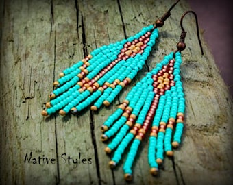 "2.5""Turquoise Arrow Seed Bead Earrings~Cute Short Native Bead Woven Fringe~Turquoise Bohemian~Native Southwest Beaded~Tribal Bead Work BOHO"