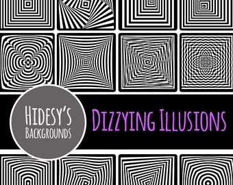 Optical Illusions Digital Paper // Dizzy Black and White Patterns // Digital Scrapbooking Paper