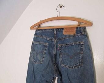 80s vintage 501 Levis for Women Faded 501 Vintage Blue denim Levis button front Faded Levis distressed Levis jeans US made 27 30