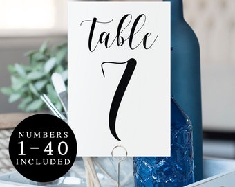 Elegant table numbers printable Table numbers 1-40 Modern table numbers Wedding table number cards Simple wedding Catholic wedding #vm31
