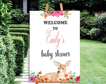 Baby shower welcome sign, Welcome to baby shower sign, Bambi baby shower sign, girl baby shower sign, printable welcome sign, decorations