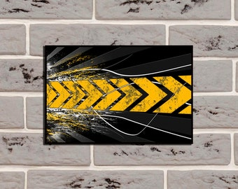 Abstract Poster Yellow tire tracks Tire tracks poster Tire tracks décor Tire tracks print Road wall poster Dirt road poster Garage decor Art