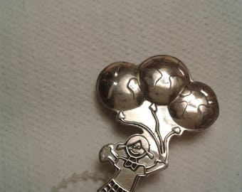 Little Girl Holding Balloons Pin/ Marked Mexico