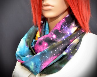 Colorful infinity scarf with galaxy print
