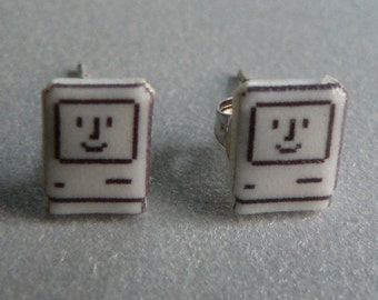 SALE itty bitty happy mac - apple computer earrings