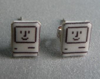 SALE itty bitty happy mac - apple computer earrings