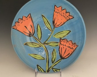 Serving Bowl: Orange Bellflower ; Functional Fine Art