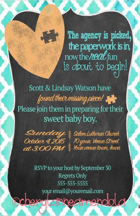 Customizable Adoption Baby Shower Invitation/Announcement I