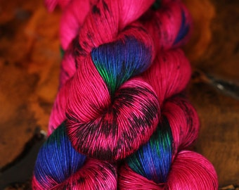 "Hand Dyed ""Snakeadelic"", Single Ply, Yarn, Fingering, Superwash Merino, Silk, Ready to Ship, Knitting, Crochet"