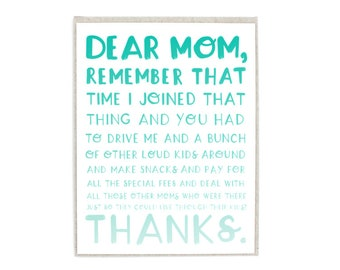 Mother's Day Hand Lettered Greeting Card, Light Kraft Paper Envelope Included