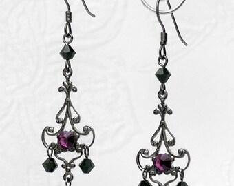 Gothic Gunmetal Filigree CRYSTAL CHANDELIER EARRINGS Black Purple Rhinestone E34