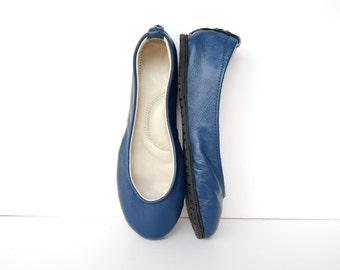 Navy blue leather ballerina flat shoes custom made