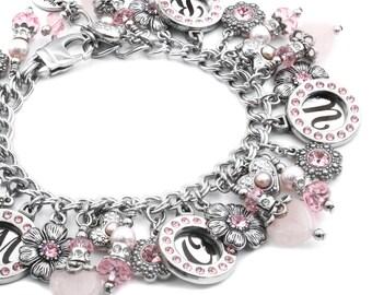 Love Bracelet, Pink Gemstone Bracelet, Pink Heart Bracelet, Pink Quartz, Crystal Bracelet with Hearts