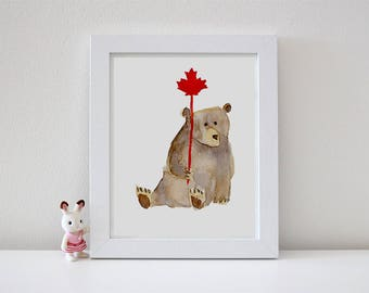 Watercolor bear / Canada Day card / Art print / Canadiana / Nursery decor