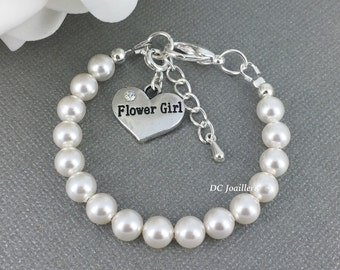 Flower Girl Bracelet White Pearl Bracelet Swarovski Bracelet Bridal Party Jewelry Flower Girl Gift Available in White or Ivory