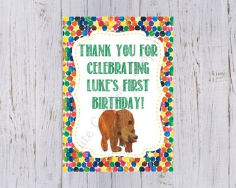 Brown Bear Birthday Party Personalized Print