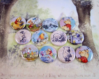 Vintage Winnie Pooh Flatback Buttons or Pins 12ct.