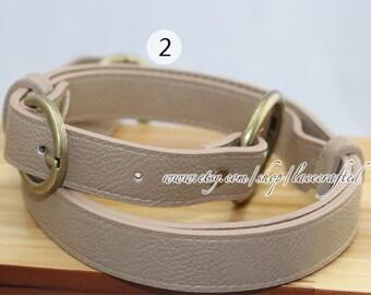 1Pc  Adjustable PU leather Shoulder bag straps, Beige Leather Shoulder Handles ,46inchs x2.5cm Bronze Anti Brass Gold Silvery Buckle