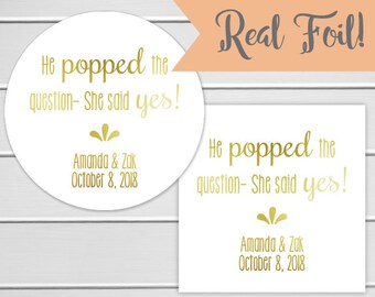 Gold Foil Popped the Question, Custom Engagement Stickers, Wedding Stickers, Popcorn Stickers (#235-F)