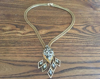 Juliana D&E? Gold Mesh Chain with a Pendant of Clear and Grey Rhinestones with Dangles Necklace 1008