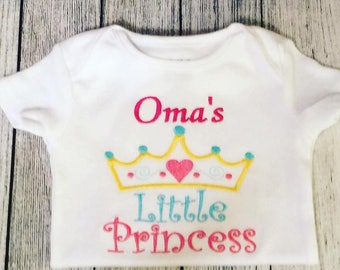 Oma's little Princess! Embroidered Shirt/Bodysuit/Burp Cloth/Hand Towel and more!