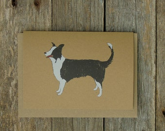 Rustic Collie Dog Card