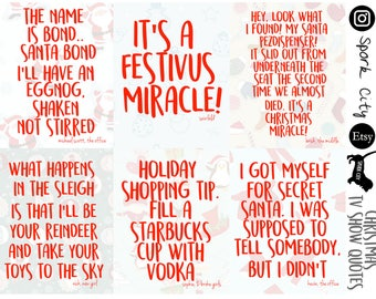 ASSORTED TV SHOW Christmas Quotes Planner Stickers