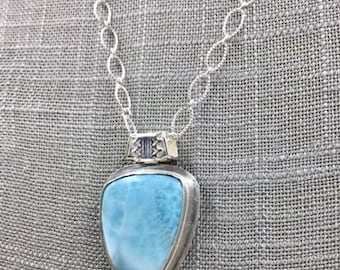 Larimar and Boulder Opal Necklace, Metalsmith Necklace, Larimar, Boulder Opal Jewelry, Designer Necklace, OOAK Pendant, Contemporary Jewelry
